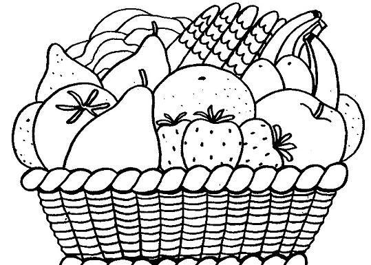 Dibujo De Frutas Para Colorear – Cesta De Frutas Para Niños