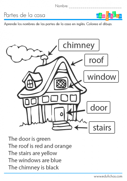 Ficha Educativa Coloreable Para Aprender Las Partes De La Casa En