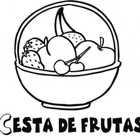 Dibujo De Cesta De Frutas Para Colorear Con Niños