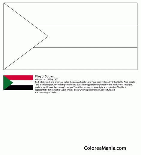 Colorear Sudán (banderas De Paises), Dibujo Para Colorear Gratis