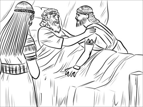 Dibujo De Bathsheba, David Y Salomón Para Colorear