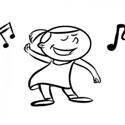 Dibujo De Niña Bailando Para Colorear Con Los Niños