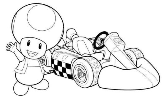 Mario Cart Coloring Pages For Boys