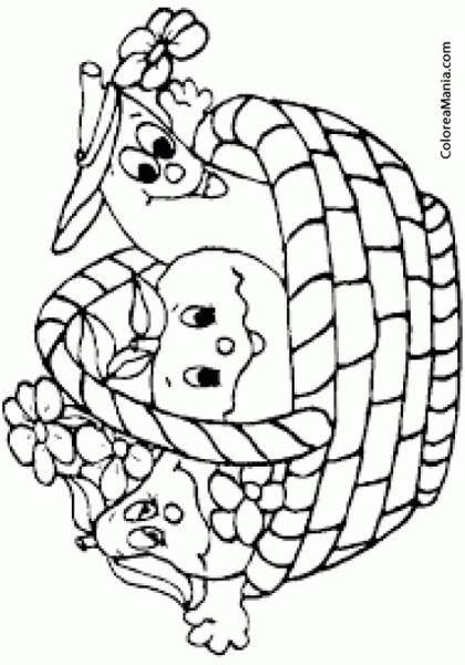 Colorear Cesta Frutas Contentas (frutas), Dibujo Para Colorear Gratis