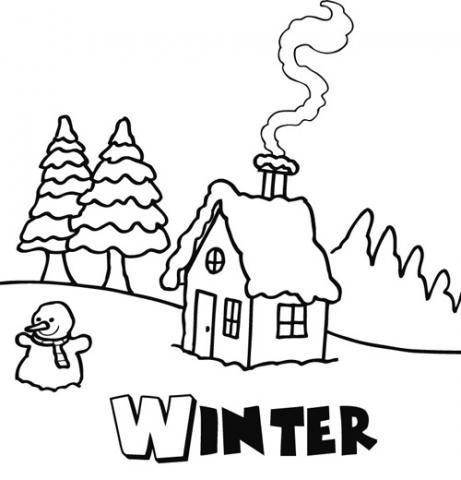 Dibujo De Invierno Para Que Los Niños Pinten En Navidad