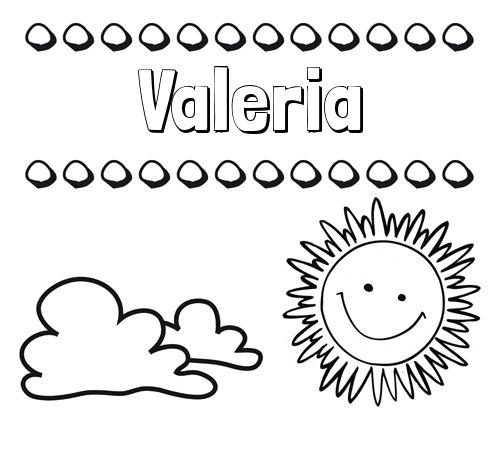 Nombre Valeria  Dibujo De Nombres En El Cielo Para Pintar