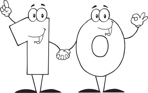 Number 10 Shows Ten Coloring Page