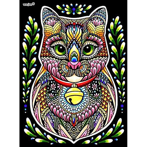 Lamina Para Colorear Con Caja De Rotuladores  Gato Mandala  Amazon