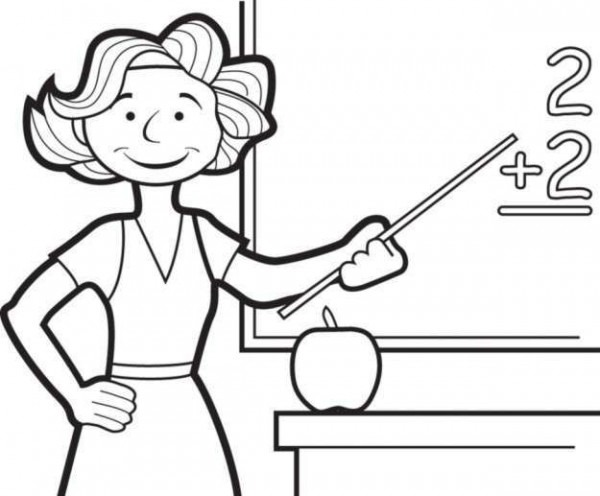 Dibujo De Una Profesora Resolviendo Una Suma