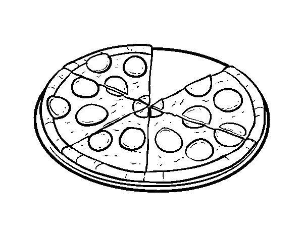 Dibujo Pizza Para Colorear