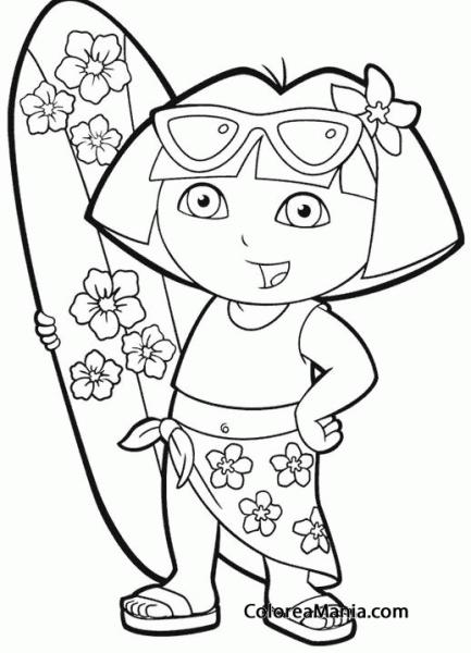 Colorear Dora Con La Tabla De Surf (dora La Exploradora), Dibujo