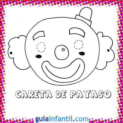 Careta De Payaso  Dibujos De Carnaval Para Niños