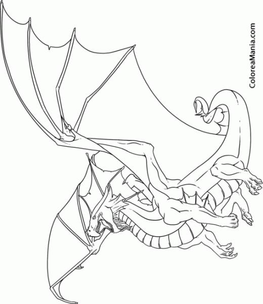 Colorear Dragón Con Alas Extendidas (animales Fantásticos), Dibujo