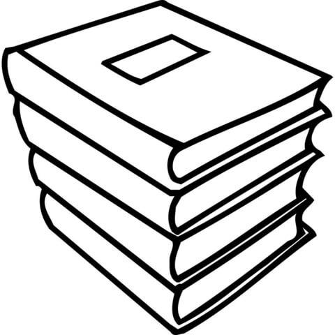 Dibujo De Una Pila De Libros Para Colorear