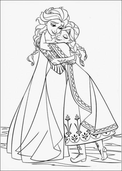 Colorea Tus Dibujos  Dibujo De Ana Y Elsa De La Película De Disney