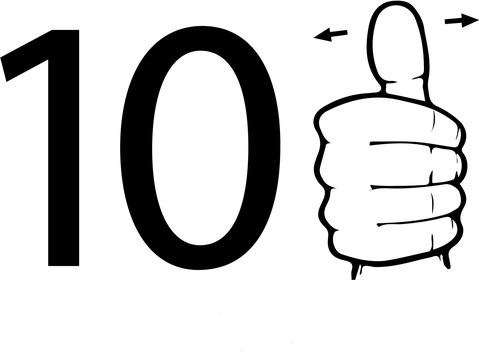 Dibujo De Número Diez En Lengua De Signos Americana Para Colorear