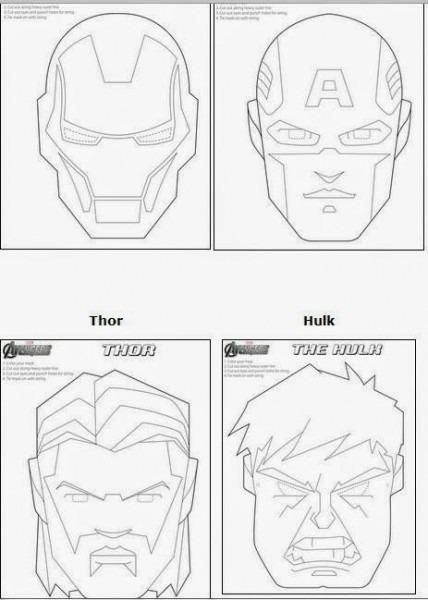 Máscaras De Los Vengadores Para Colorear