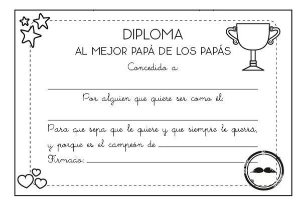 Diplomas Para Colorear En El Día Del Padre
