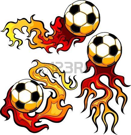 Fútbol Flaming Vector Bola Ardiendo Con Llamas De Fuego Vectores