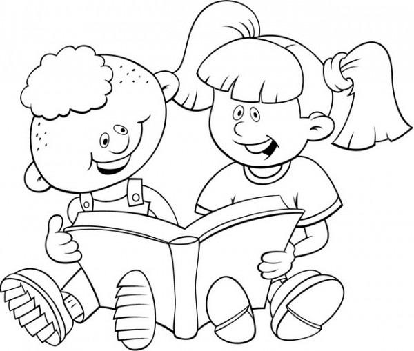 Niña Leyendo Un Libro Para Colorear