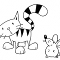 Raton Y Gato Para Colorear
