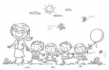 Vectores De Stock De Niños En Fila, Ilustraciones De Niños En Fila
