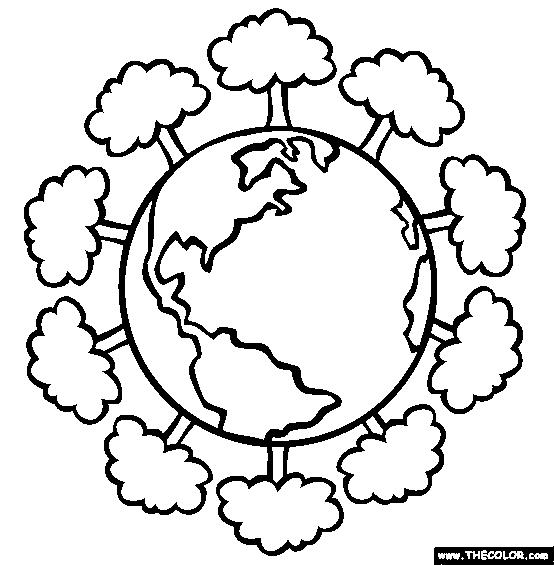 Planeta Tierra Infantil Para Colorear