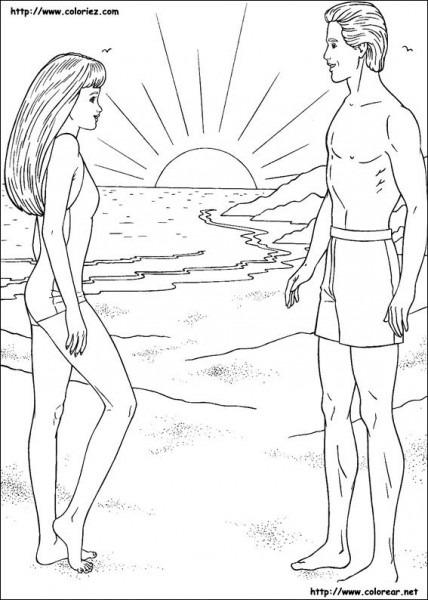 Dibujos Para Colorear De Barbie Y Ken En La Playa