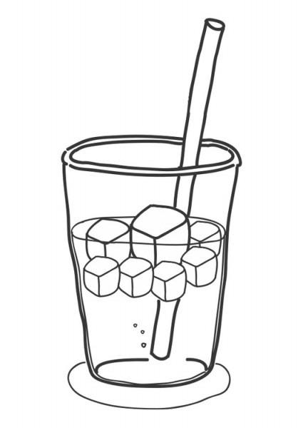 Dibujo Para Colorear Cubitos De Hielo En Bebida