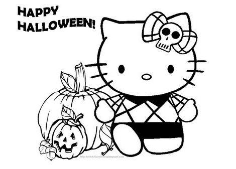 Dibujo Para Colorear En Halloween De Hello Kitty