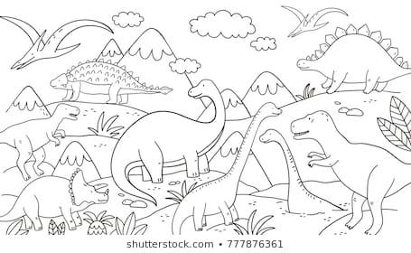 Imágenes, Fotos De Stock Y Vectores Sobre Dinosaurios Colorear