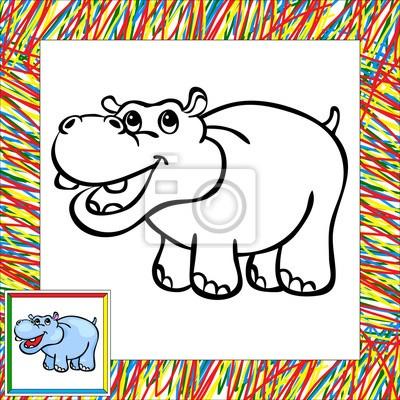 Divertidos Dibujos Animados De Libro Para Colorear Hipopótamo