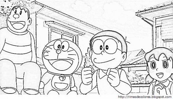 Dibujos Para Colorear De Doraemon Y Sus Amigos Para Imprimir