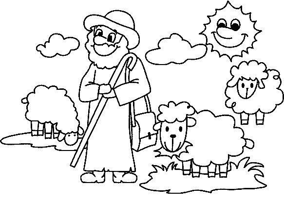 Pastor Y Sus Ovejas Para Colorear