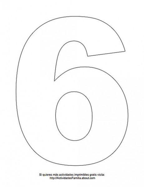 Dibujos De Números Para Colorear  Número 6 Para Colorear