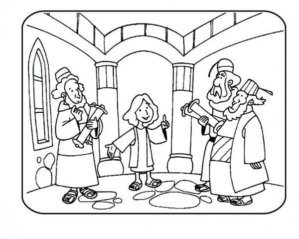 Jesus Va Al Templo Cuando Era Niño Para Colorear