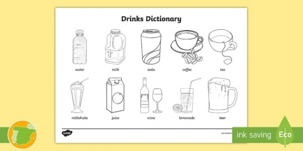 A2 Diccionario Para Colorear  Las Bebidas En Inglés