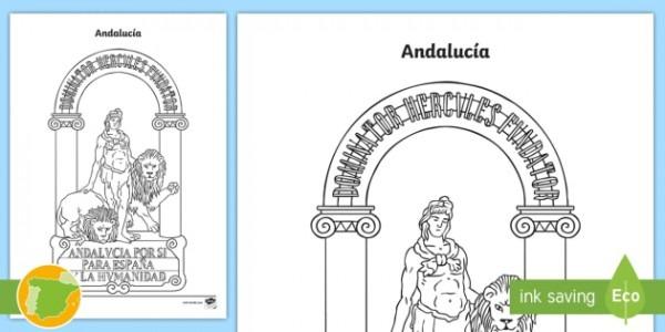 Hoja De Colorear  El Escudo De Andalucía (teacher Made)