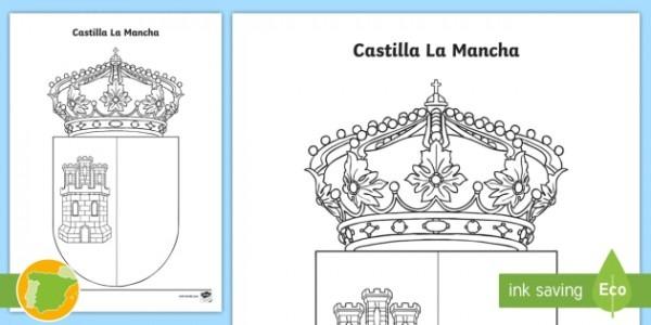 Hoja De Colorear  El Escudo De Castilla La Mancha