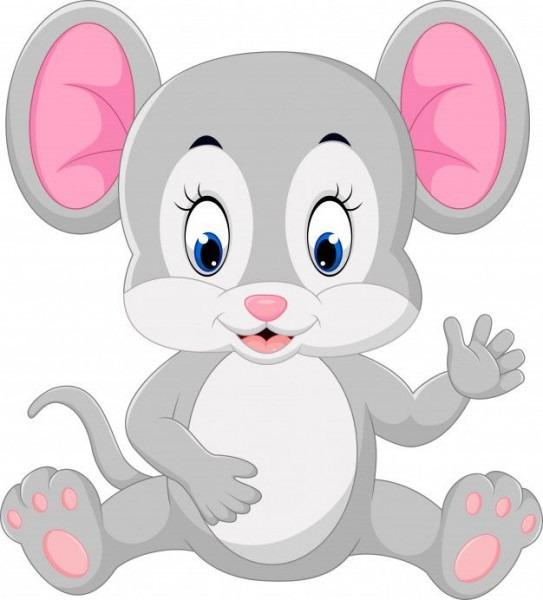 Lindo Ratón De Dibujos Animados Agitando