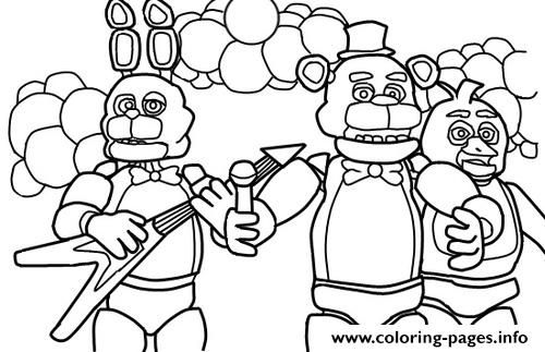 Print Five Nights At Freddys Fnaf Music Band Coloring Pages