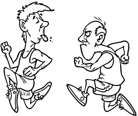 Dibujo De Caricatura De Atletas Para Colorear