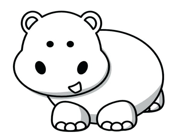 99 + Hipopotamo Para Colorear Infantil