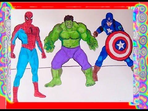 Superheroes Coloring Book Spiderman, Hulk, Captain America