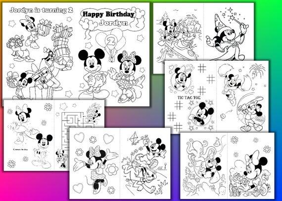 Minni Y Mickey Mouse Birthday Party Libro Para Colorear Minni