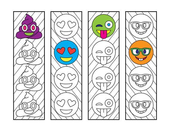Emoji Bookmarks Pdf Zentangle Coloring Page
