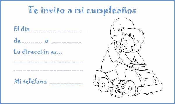 Manualidades Con Mis Hijas  Colorear Invitaciones De Cumpleaños