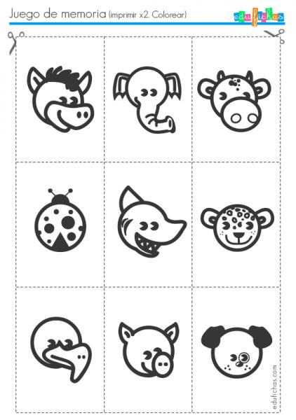 Flashcards Para La Memoria Con Dibujos De Animales