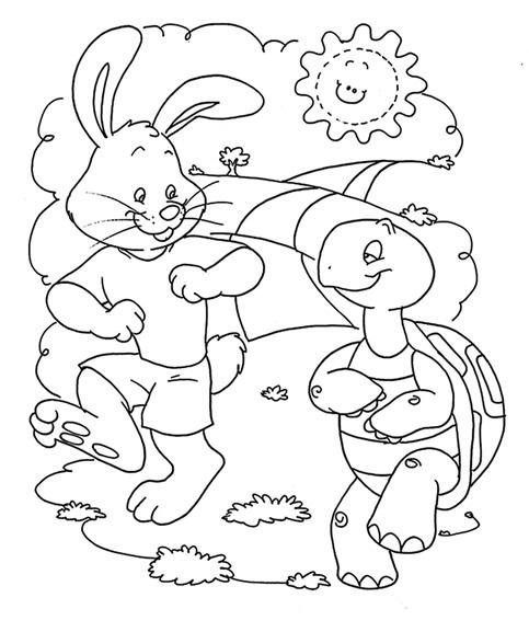 Dibujos Para Pintar De La Liebre Y La Tortuga