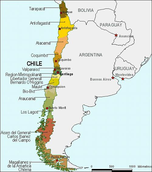 Mapa De Chile Para Colorear E Imprimir